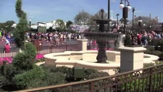 New Main Street Plaza Gardens Cinderella Castle area walkthrough at Magic Kingdom, Walt Disney World