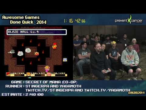 AGDQ 2014 - Secret of Mana (CO-OP) - STINGERPA and YAGAMOTH - Speedrun