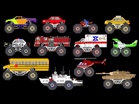 Thumbnail: Monster Vehicles - Monster Truck, Monster Car & More - The Kids' Picture Show (Fun & Educational)