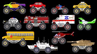 Monster Vehicles - Monster Truck, Monster Car & More - The Kids' Picture Show (Fun & Educational)