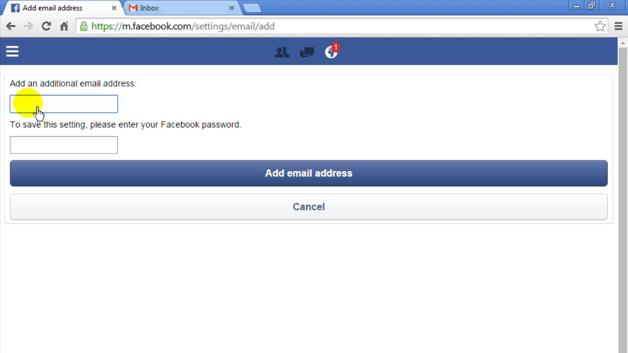 Can you change email address for facebook