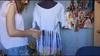 Мода в твоих руках. Как сделать стильную ажурную футболку. ;)(И так приступим к созданию уникальных предметов одежды) Сегодня мы сделаем рваную, ажурную майку с бахромой..., 2013-06-15T23:06:33.000Z)