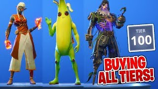BUYING ALL TIERS in Season 8 Battle Pass! ALL ITEMS Tier 100, Banana Skin AND MORE! (Fortnite)