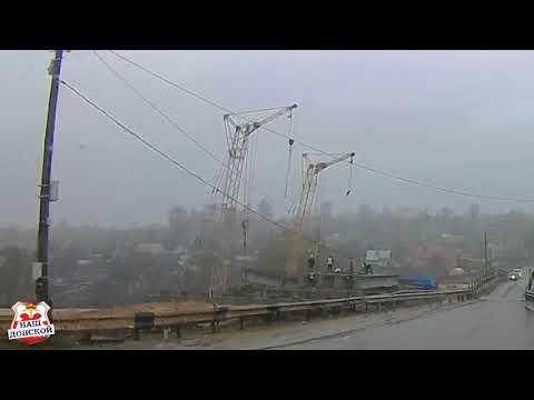 В Донском рухнул кран с пролётом моста в реку Дон. #ЧП #Рухнулмост