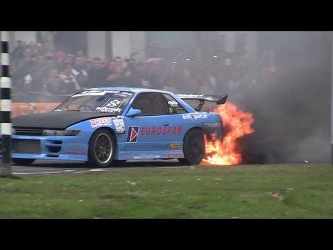 Drift car on fire, City Racing Rotterdam 2012