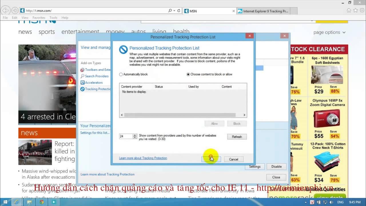 Chặn quảng cáo và tăng tốc cho Internet Explorer 11 – http://taimienphi.vn