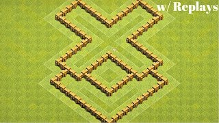 Clash of Clans | Best Th5 Base Layout w/ Replays | New X - Formation Town Hall 5 Defensive Base