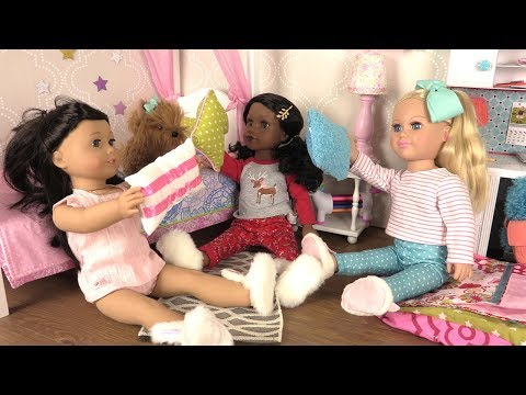 Baby Doll Sleepover Routine with American Girl Doll