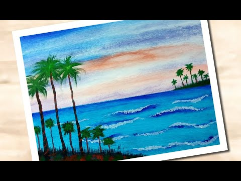 Teach view Daily Art | Scenery of Sea Painting | very simple painting for beginners
