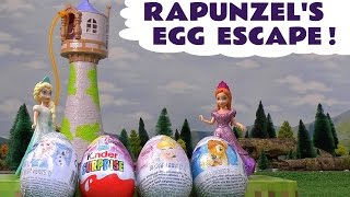 Surprise Eggs Escape | Frozen Elsa and Anna | Huevos Sorpresa | Rapunzel Tower Kinder Disney