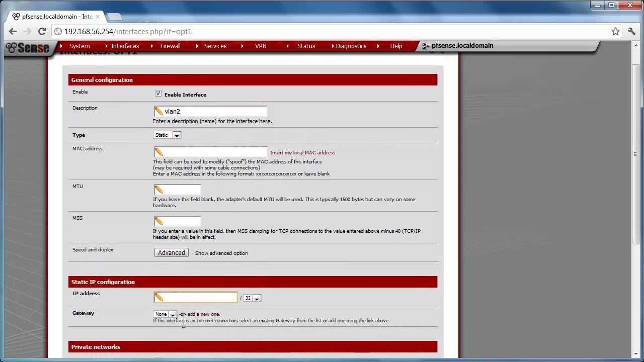 Vlan configuration on pfsense 2 0 1