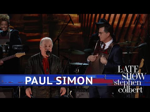 Stephen Colbert joins Paul Simon for rousing rendition of 'That Was Your Mother'