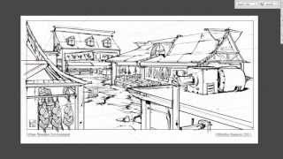 Line Art - Market Place line drawing process (no sound)