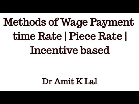 Methods of Wage Payment | Time rate | Piece rate | incentive based System