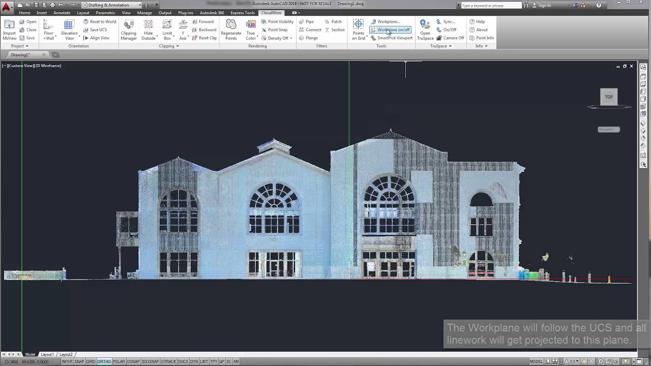 Hotel Front Elevation Cad Drawings : Leica geosystems cloudworx for autocad elevation