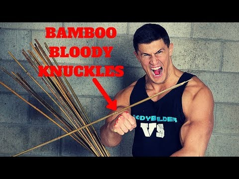 Bamboo BLOODY KNUCKLES Challenge *CRAZY PAINFUL* | Bodybuilder VS Bamboo Stick Slap Damage Test