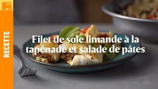 Filet de sole limande à la tapenade et salade de pâtes caprese