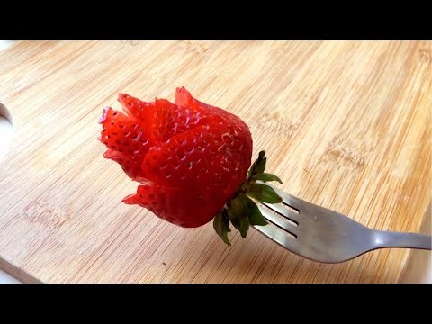 How to make a strawberry rose youtube - How to slice strawberries for decoration ...