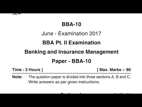 Banking and Insurance Management BBA 2nd Year Question Paper 2018