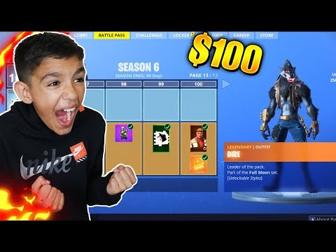 Surprising Little Brother With Fortnite Season 6 *MAX* Battle Pass! He Freaked Out!