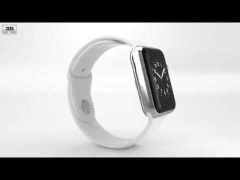 apple-watch-42mm-stainless-steel-case-white-sport-band-by-3d-model-store-humster3d.com
