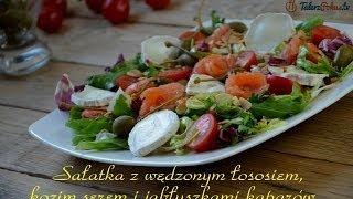 Sałatka z wędzonym łososiem, kozim serem i jabłuszkami kaparów - TalerzPokus.tv