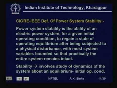Lecture - 33 Power System Stability - I