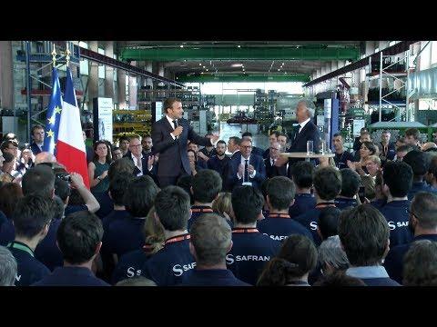 French President Emmanuel Macron visits Safrans plant in Villeurbanne