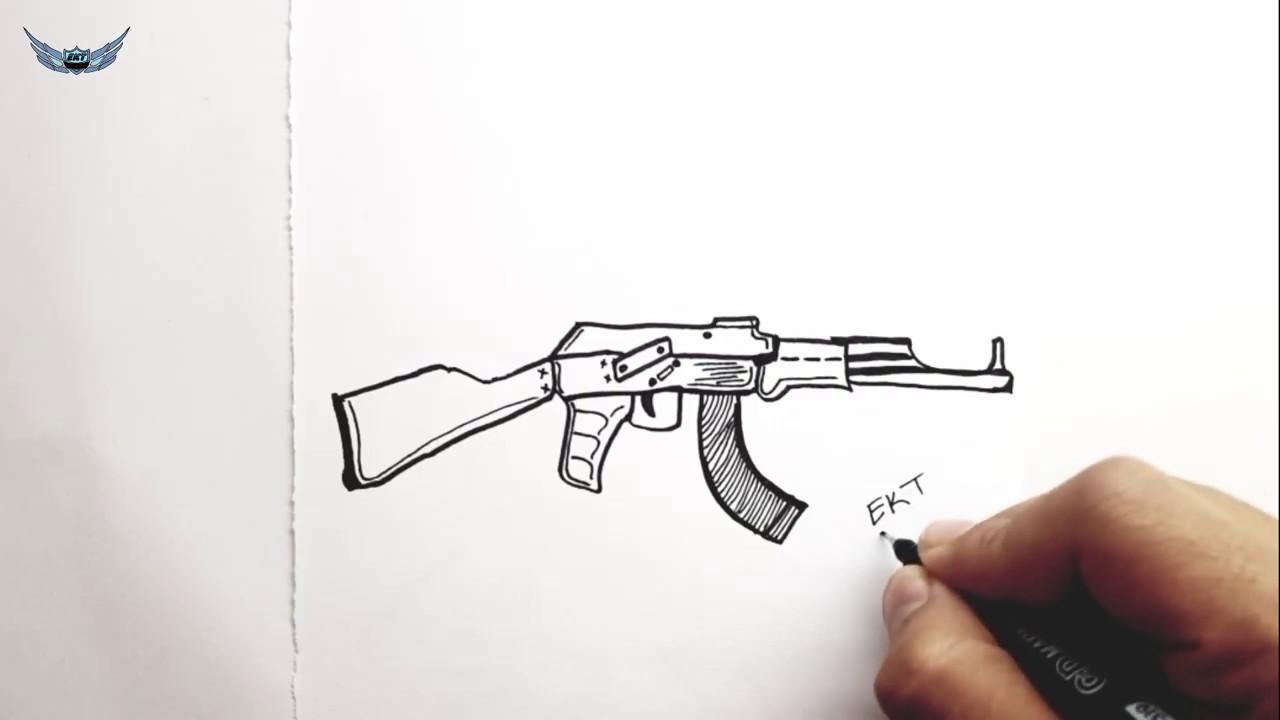 Akm Silah Resmi Nasil Cizilir Kolay Resim Cizme Adim Adim