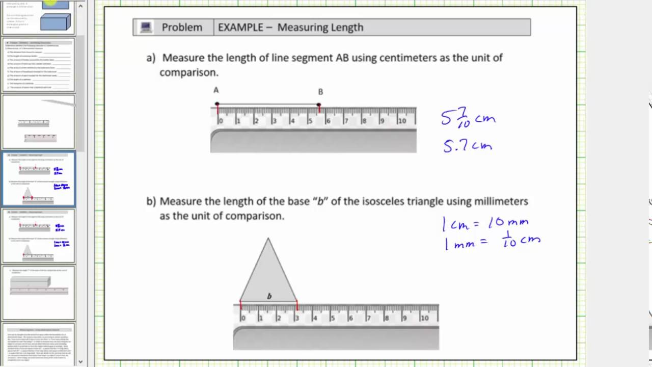 Determine Lengths In Centimeters, Millimeters, And Inches