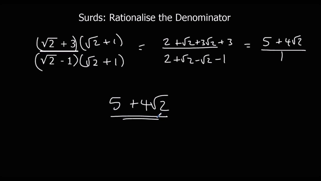 Surds Rationalise The Denominator Youtube