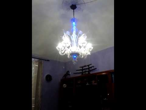 lampadario di murano a led - YouTube