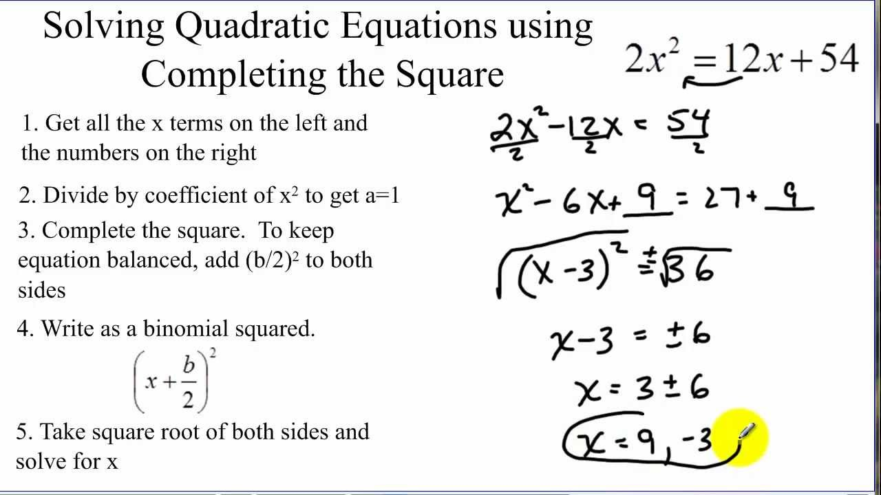 Solving quadratic equations by completing the square - YouTube