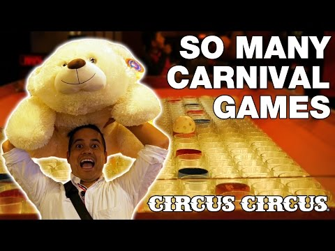 Playing almost ALL the carnival games at Circus Circus! | The Crane Couple