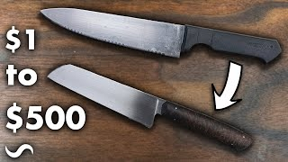 TURNING A $1 KNIFE INTO A $500 CHEF'S KNIFE!!!