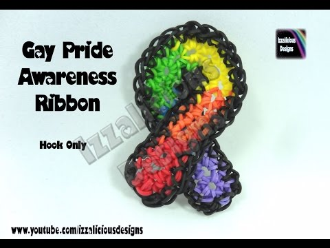 Rainbow Loom Gay Pride Awareness Ribbon - Hook Only/Loom Less