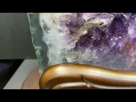 一元起標無底價 頂級ESP+稀有帝王紫kitty貓造型巴西小水型形紫水晶洞 水帶財17.8kg帶虎牙業務招財