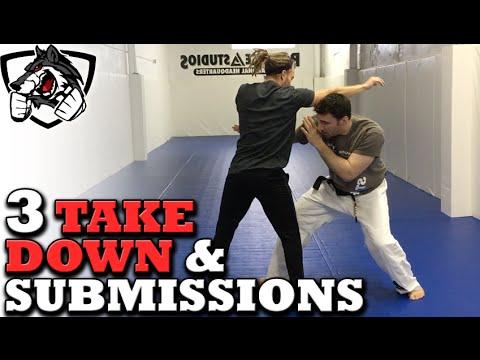 Grappling vs Striking: 3 BJJ Takedowns & Submissions