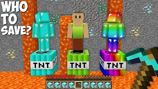 What LIGHT TNT to save HAMOOD HABIBI or DIAMOND MAN or RAINBOW MAN in Minecraft ?