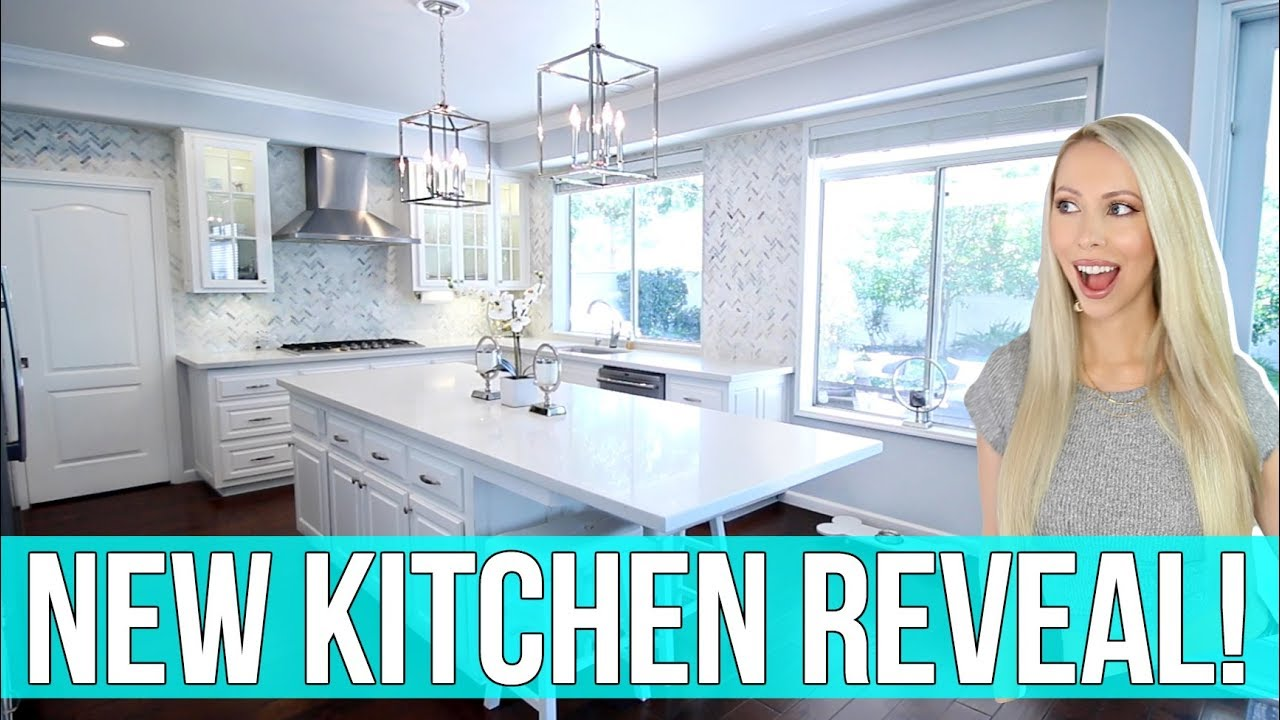 NEW KITCHEN REVEAL! All White Marble Kitchen Remodel - YouTube