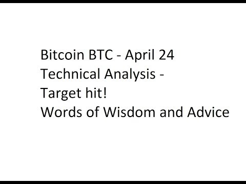 Bitcoin BTC - April 24 Technical Analysis - Target hit! Words of Wisdom and Advice