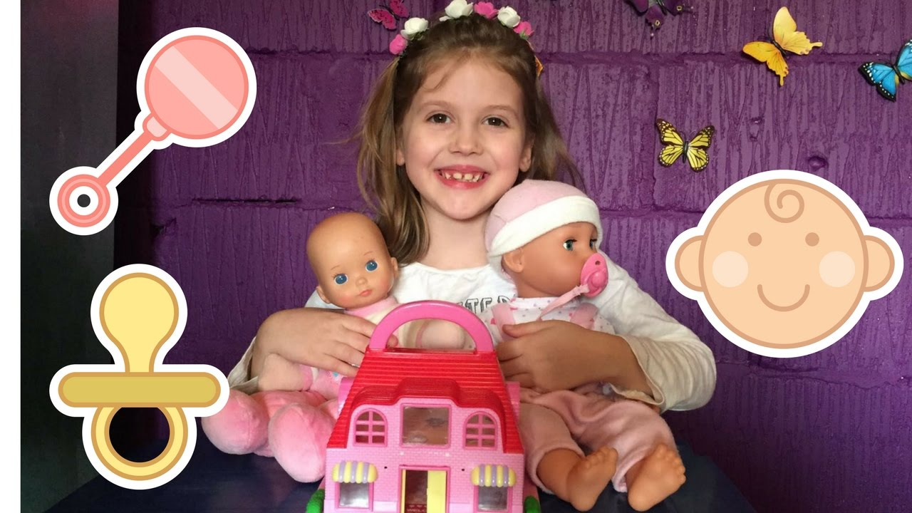 Cute Little Girls Playing With Dolls, Baby Dolls ,Playhouse , Doll House - Youtube-7646