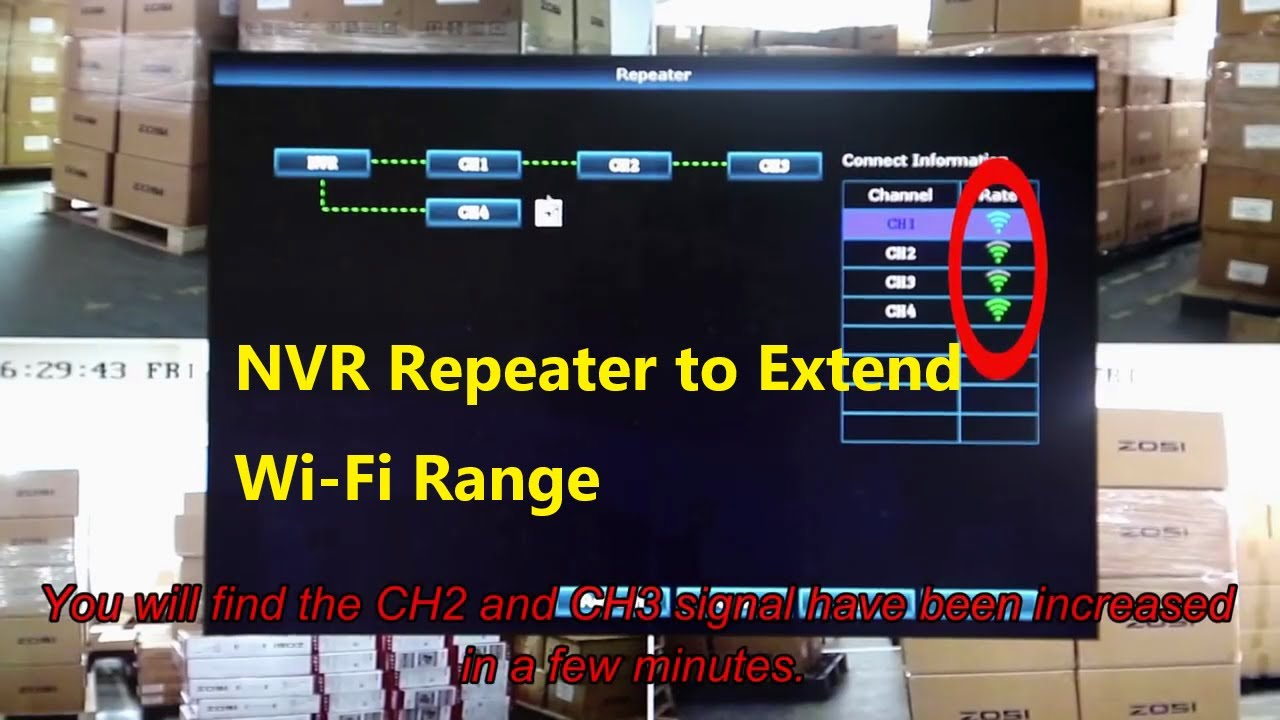 ZOSI Security System - How to setup the NVR repeaters to enhance the WiFi  distance ?