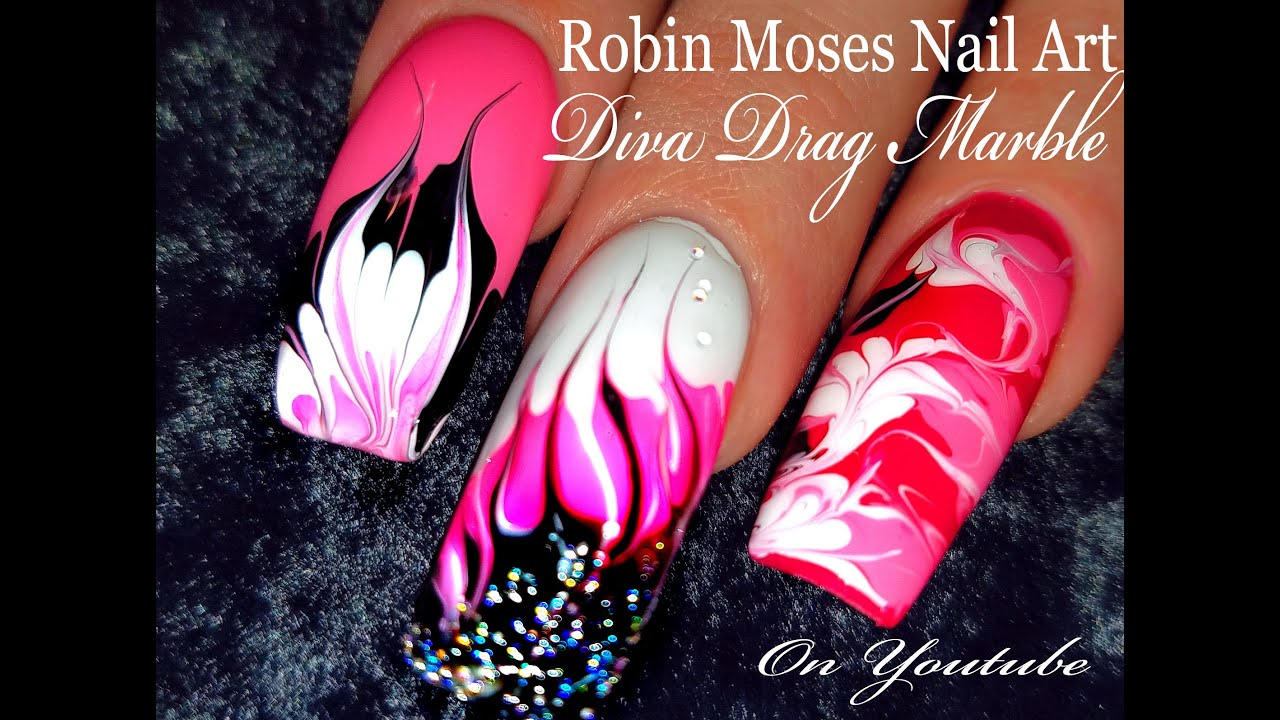 No water needed pink diva diy drag marble nail art tutorial youtube solutioingenieria Images