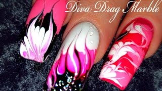 No Water Needed - Pink Diva DIY Drag Marble nail art Tutorial