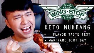 Keto Wingstop Mukbang - THE BURNING!! ..4 Flavor Taste Test!