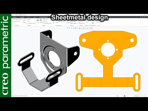 🇨 🇷 🇪 🇴 Creo Sheet Metal For Beginners | Sheet Metal Bracket 4 In Creo Parametric