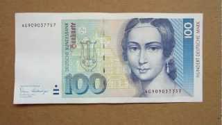 100 Deutsche Mark Banknote (Hundred Deutsche Mark / 1989), Obverse and Reverse