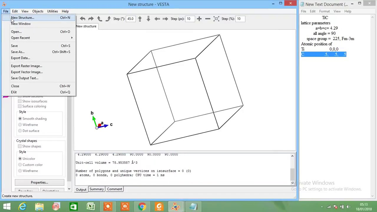 Draw Crystal Structure with Vesta (TiC example)