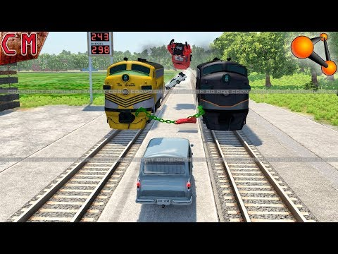 BeamNG Drive Giant Chained Trains Vehicles Crashes #2